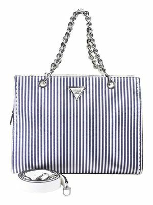 Guess Women s Sawyer Blue Stripe Satchel Handbag 1ed4387d5abf3