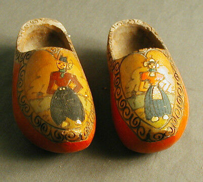 """VINTAGE RED CHILDREN'S WOODEN SHOES - AUTHENTIC - HAND MADE - HOLLAND - 7"""" L  ow"""