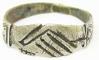 """Nice 14th - 15th century A.D. Medieval Silver Wedding Ring """"Fede"""" Type Size 11"""