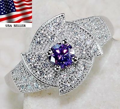 1CT Amethyst & White Topaz 925 Solid Sterling Silver Ring Jewelry Sz 8, Z-15