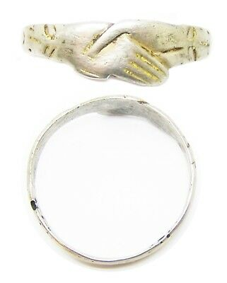 """Wonderful 14th - 15th century Medieval Silver Wedding Ring """"Fede"""" Type Size 10.5"""