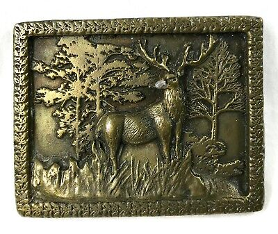 "1975 Adezy Brass Belt Buckle Elk Deer Hunting Forest 3"" Solid Metal Denver"