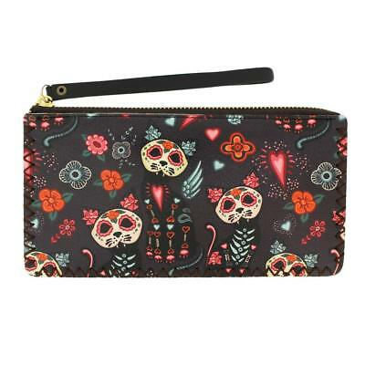 Day of the Dead Cat Wristlet Wallet Coin Purse Pouch DOD Sugar Skull Kitty