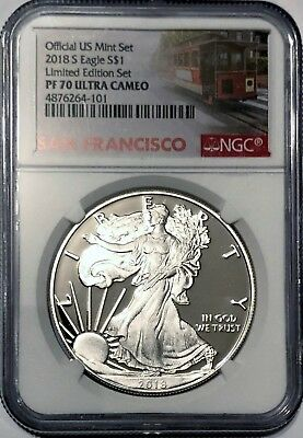 2018 S Proof Silver Eagle Limited Edition Set Ngc Pf70  Ultra Cameo Trolley