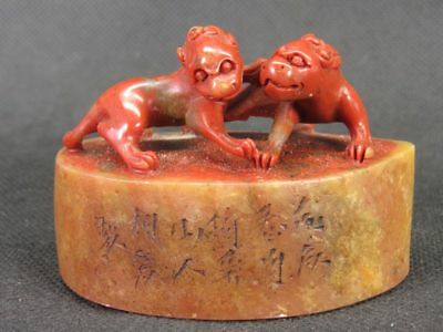 Chinese Two Dragon Carved Natural Shoushan Stone Seal Stamp Signet
