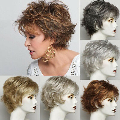 Ombre Black Brown Short Wavy Curly Style Afro Wigs for Women with Bang Synthetic