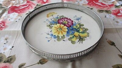Vintage  50s  flowered porcelain Tray with Metal sides & feet