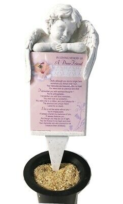 Grave Card Friend Graveside Plaque Holder Stake Ornament Statue Angel Memorial