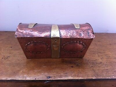 DECORATIVE ANTIQUE PUNCHED COPPER & BRASS CASKET / BOX 6.5 by 3.75 inches a/f