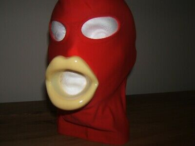 Red Spandex Gimp mask, With Sissy Lips in Red, Black, Pink  Very Hot item  SizeM