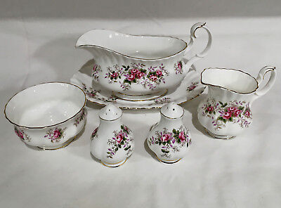 Royal Albert Lavender Rose Gravy Salt And Pepper Mini Cream & Sugar Lot