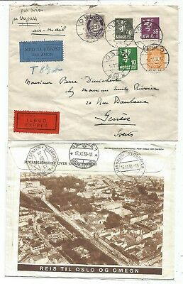 Norge Norway Lettre Cover Expres Avion Oslo 1938 To Suisse