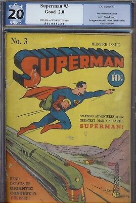 Superman #3 Golden Age Superman DC unrestored blue label PGX 2.0 1939 series