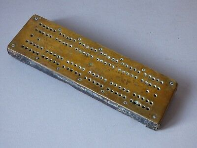 Old Collectable Vintage Brass Wood Crib Cribbage Card Game Board Free Uk P+P