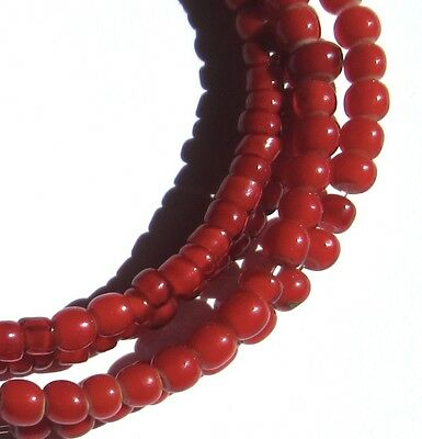 """24"""" Strand Of Tiny/Small Old Red Venetian White Heart Glass Beads African Trade"""