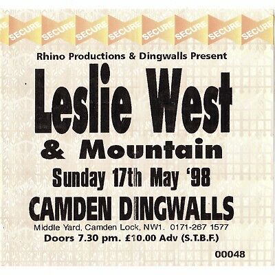 MOUNTAIN & LESLIE WEST Concert Ticket Stub LONDON 5/17/98 MISSISSIPPI QUEEN Rare