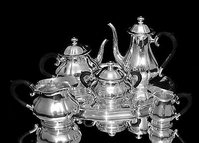 JEZLER 6pc. ANTIQUE SILVER TEA / COFFEE SET WITH SILVER SERVING TRAY - MID 1800s