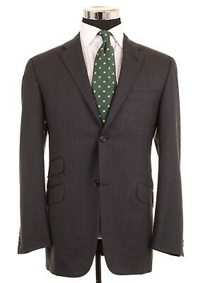 Burberry London Gray Chevron Brushed Wool HACKING 2pc Suit Jacket Pants 40 R