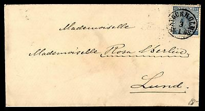 Stockholm Sweden January 18 1868 Cancel On Cover To Lund