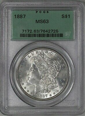 1887 Morgan Silver Dollar $1 Pcgs Certified Ms 63 Mint Ogh Old Green Holder (725