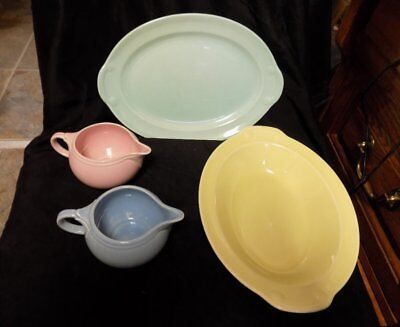 Vintage Luray Pastel Lot~4 Pcs~Mixed~2 Creamers, Oval Dish, Platter