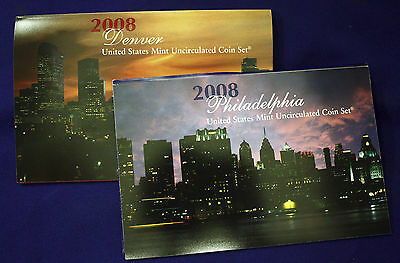 """2008 Original U.S. MINT SET. Complete with all """"P and """"D"""" Mint coins. 28 Total"""