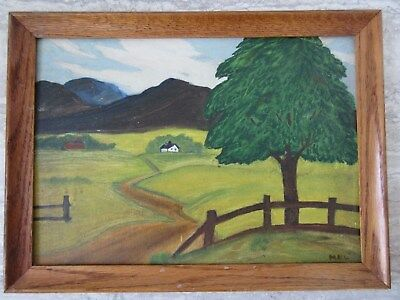 Old Vintage Primitive Oil on Board Painting Landscape Farm Scene Signed Logan