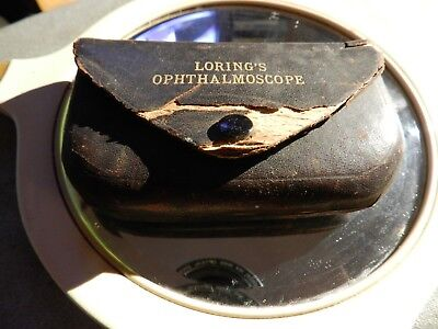1904 Loring's Ophthalmoscope in original green velvet lined leather case.