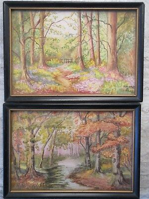 Pair Old Vintage Watercolor Paintings Woods Paths M.W.Carlyle Ontario Canadian