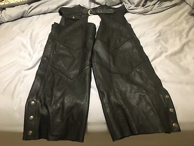 Harley Davidson Motorclothes Mens Black Leather Motorcycle Chaps Size 2XL