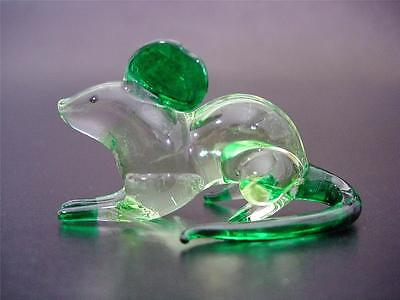 Glass MOUSE / RAT, Glass Ornament Animal, Tinted Green Painted Glass Figure Gift