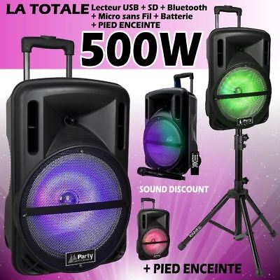 sono Enceinte mobile 500W + Pied + Micro + BLUETOOTH USB SD CABLE PC PA DJ SONO