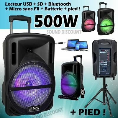 Enceinte sono mobile 500W + Pied + Micro + BLUETOOTH USB SD CABLE PC PA DJ SONO