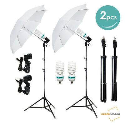 "2x33"" Photo Video Studio Umbrella Reflector Photography Stand Lighting Kit White"