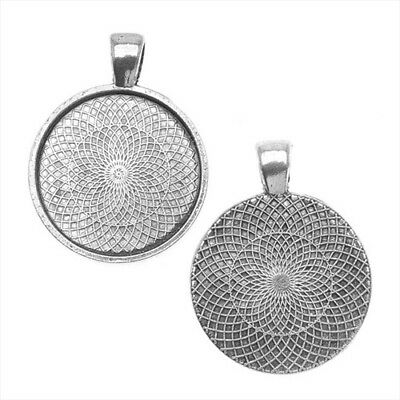 Antiqued Silver Plated Round Bezel Pendant 25mm (1 Inch) (1 Piece)