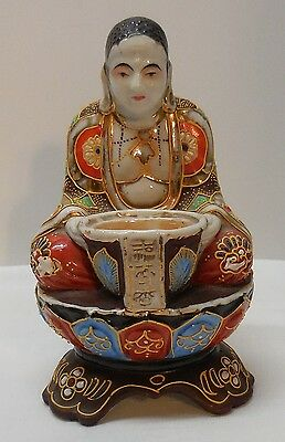 Meditating Asian Man with Incense Bowl Raised Color Gold Accents 1920's Vintage