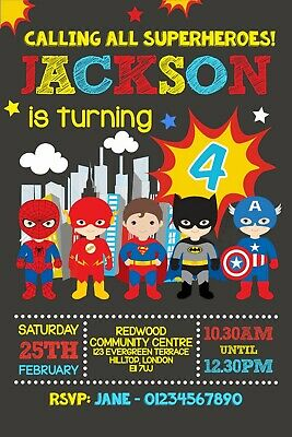 Personalised Superhero Party Invitations Envelopes
