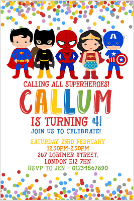 Personalised Superhero Party Invitations Envelopes Birthday Invites Superheroes