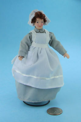 1/12 Scale Dollhouse Miniature Porcelain Maid/Cook/Nanny Doll in Apron #S3088