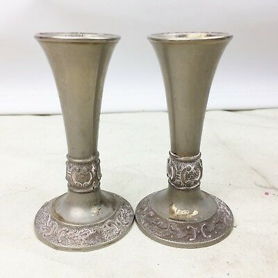 Antique Pair Of Silver Plated Vases Vintage Retro