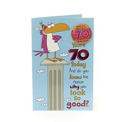 Funny 70th Birthday Card and Badge - You're 70 Today!