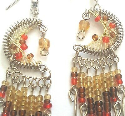 Dream Catcher Earrings-Alpaca Silver-Beautiful Shades of Browns w/Red Accents!