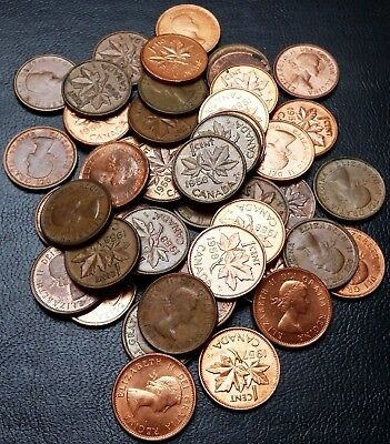 Lot of 50x Canada Small Cents Pennies - Dates: 1957, 1958, 1959