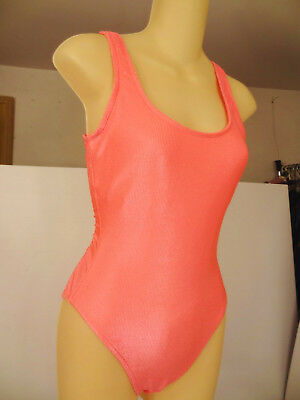 Vtg 80s Jantzen Shiny Nylon-Spandex Plunge-Frnt/Low-Bk Leotard/Swim/Bathing Suit