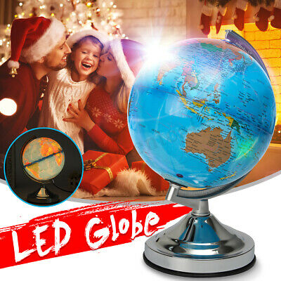 Illuminated Earth Globe Rotating Ocean World Night Light Home Room Decor Gift