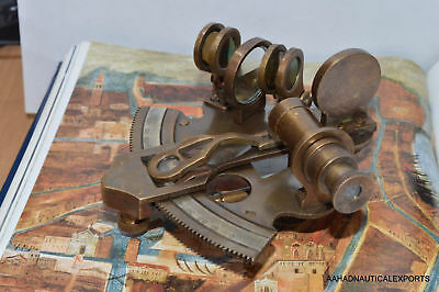 """German Antique Brass Marine Sextant 3"""" Nautical Reproduction Decor Collection"""