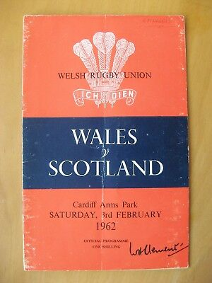 WALES v SCOTLAND Rugby International 1962 *VG Condition Programme*
