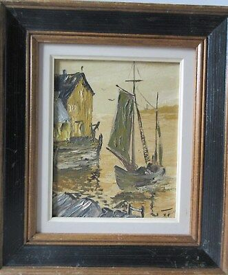 Old Vintage Canadian Oil on Board Painting Signed Shaw Sailboat & Wharf