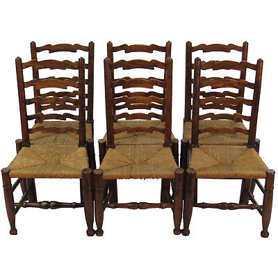 Antique English Oak Set of Six Ladder Back Dining Room Kitchen Chairs Ladderback