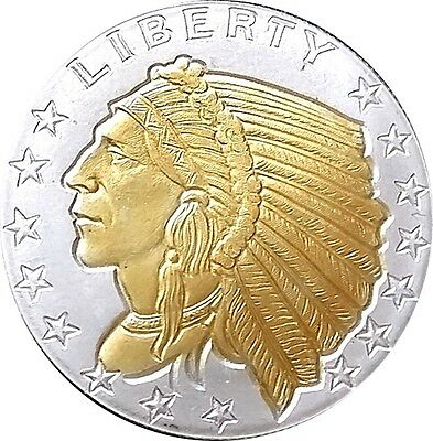 American Incuse Indian , 24k Gold Gilded  .999 pure Silver Coin Half Troy Ounce